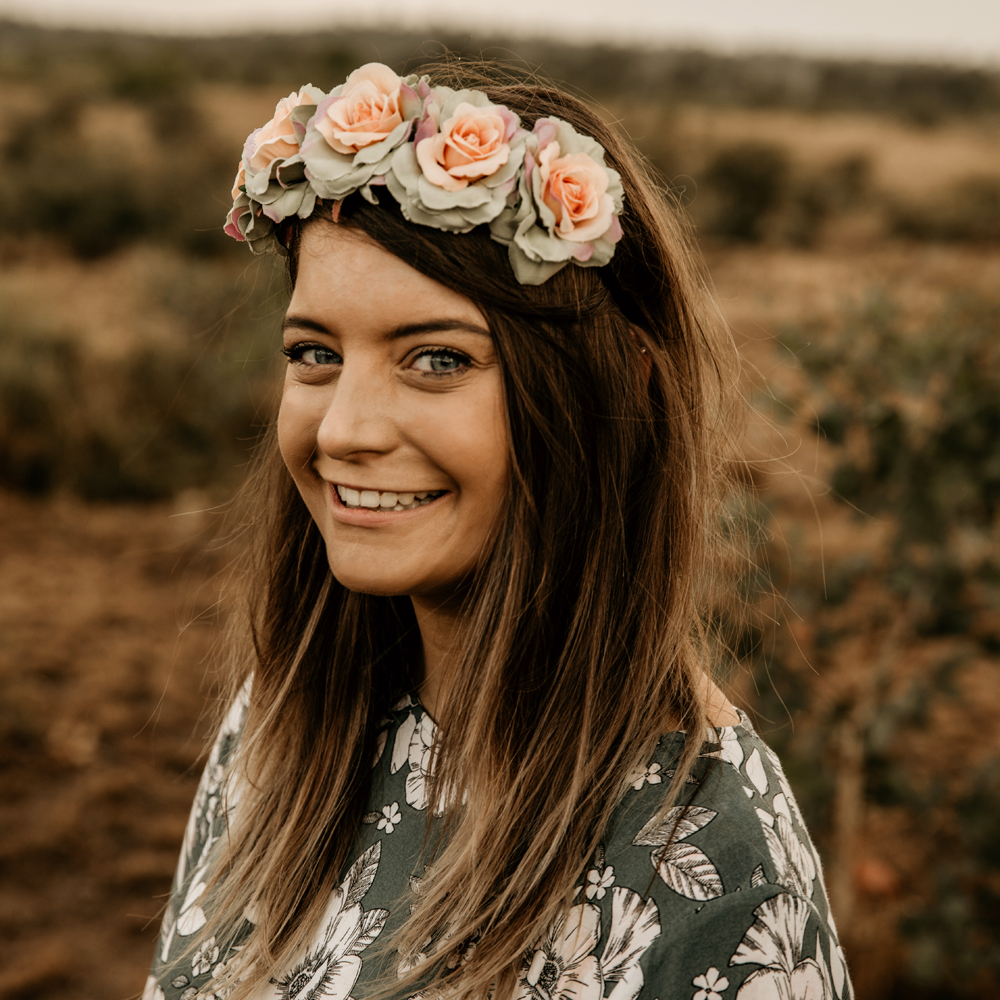 floral headpiece band olive