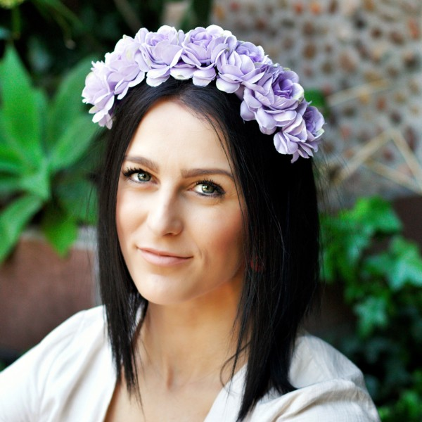 purple silk flower lavender hair crown