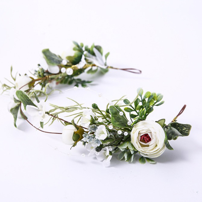 green white bride flower crown