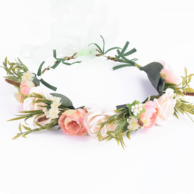 party headband fake flowers peach