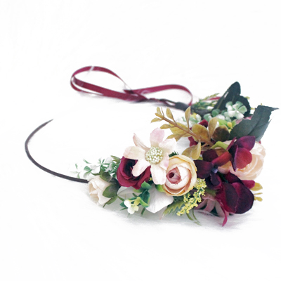 wine red pink flower crown bohemian