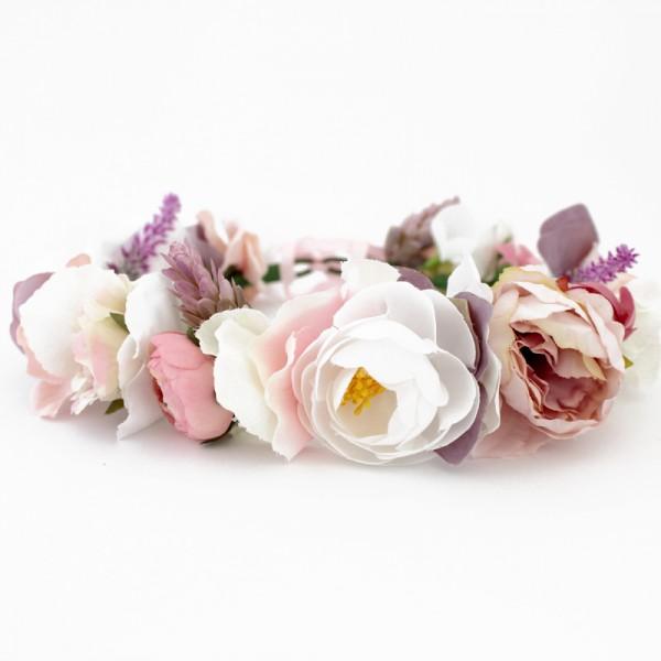 floral crown white mauve dusty
