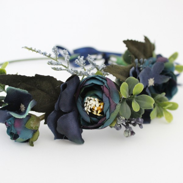 flower headband navy