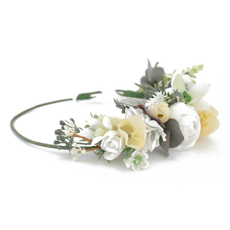 white yellow flower crown fake