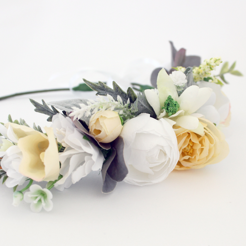 bridal pale yellow bridesmaid crowns
