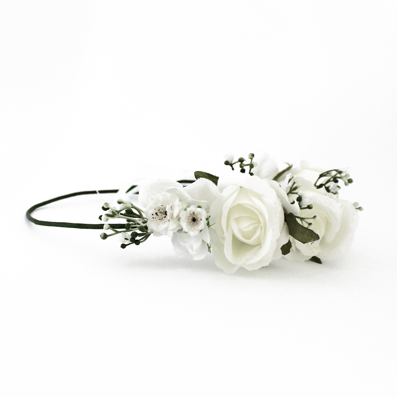 white rose fake flower crown