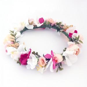 pink white peach hair silk flowers