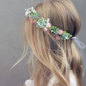 leafy pink floral crown kids