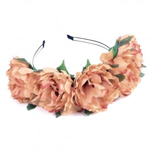 rust orange hair flowers head piece