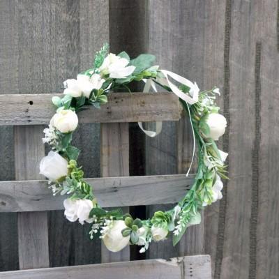 ivory faux flower halo