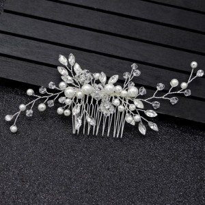 bride headpiece silver pearl