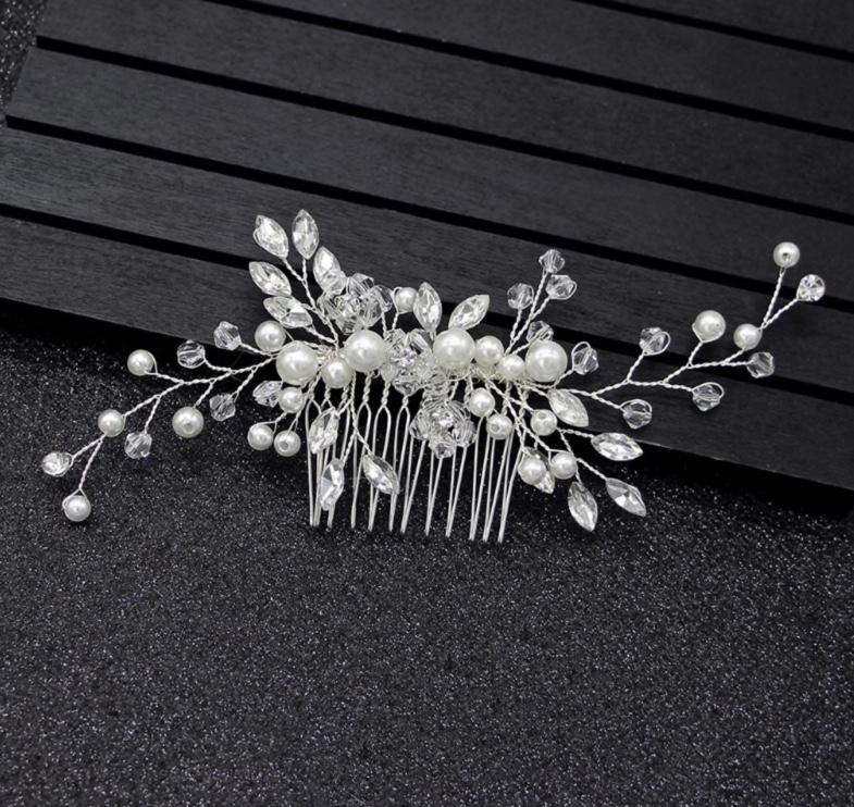 bride headpiece silver pearl