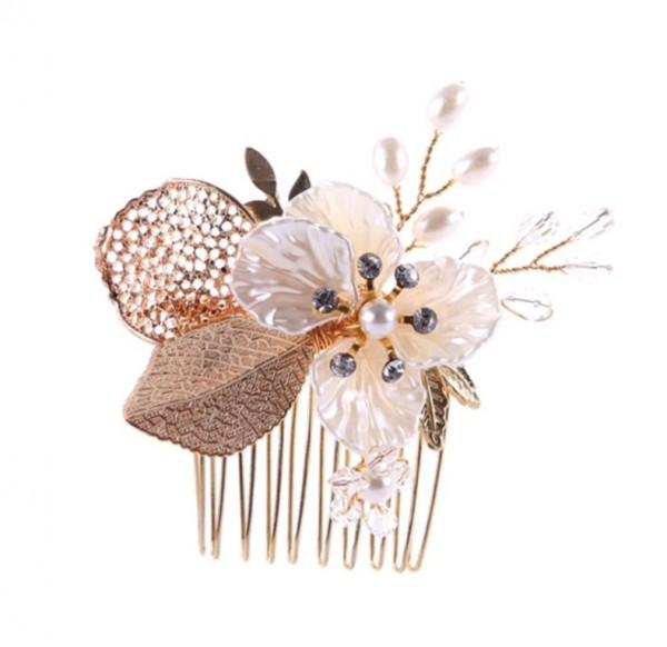 gold leaf bride hairpiece