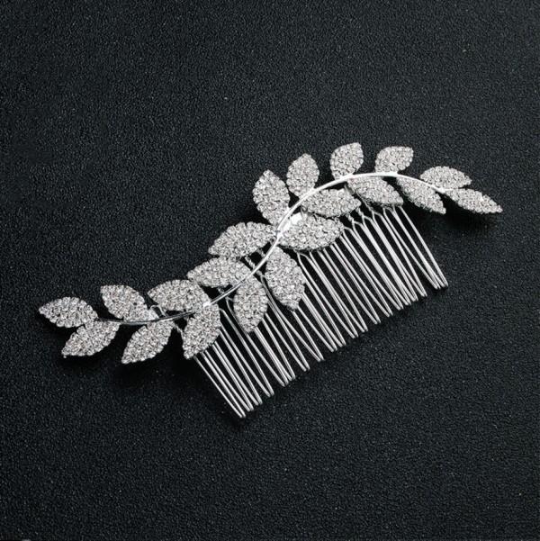 headpiece silver leaves bride