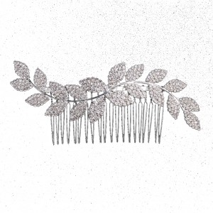 hair comb wedding silver leaf
