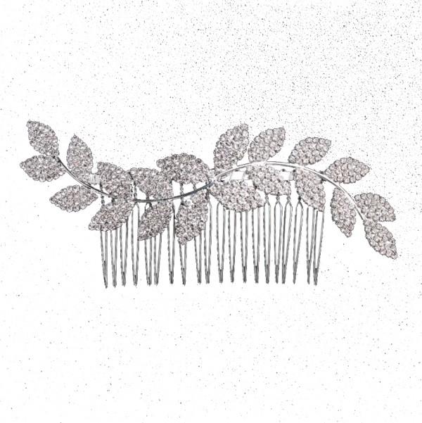 hair comb wedding silver leaf
