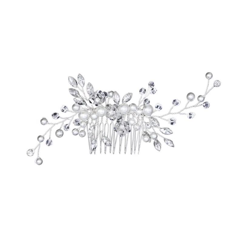 silver bridal hair pearls