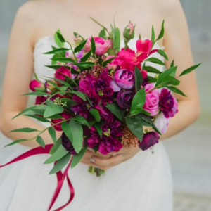 bride purple native bouquet