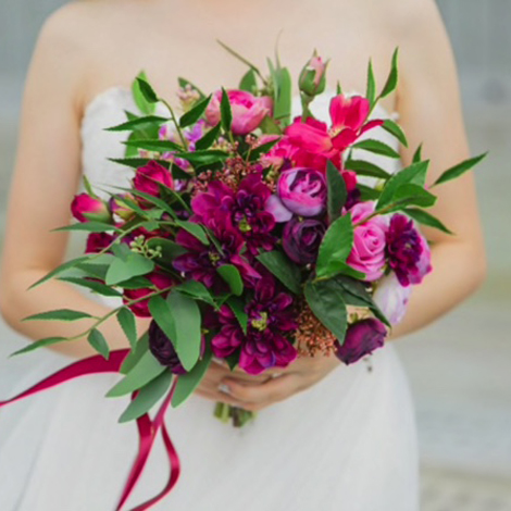 bride purple native bouquet
