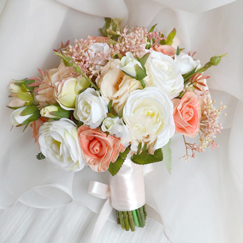online peach bride bouquet