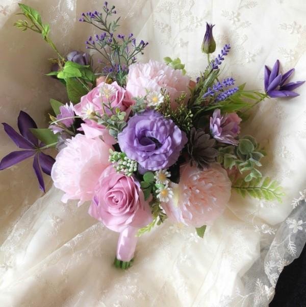 silk floral bouquet purple