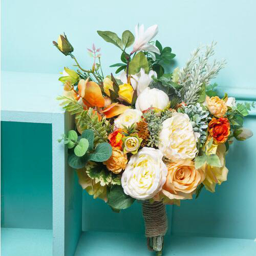 silk flower bouquet orange