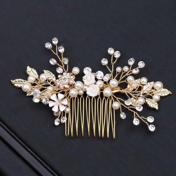 gold bride hair pins