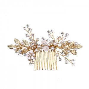 gold bride hair combs
