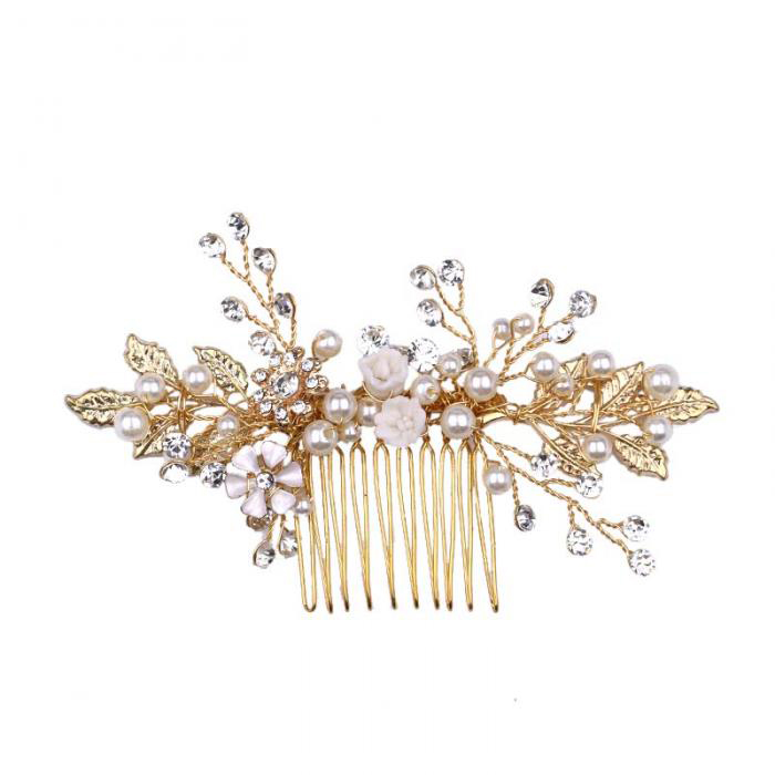 gold bride hair combs