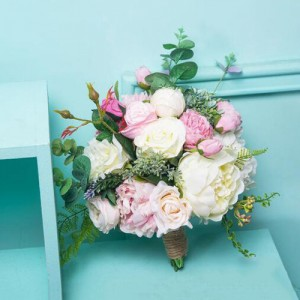 pink artificial wedding flower bouquet