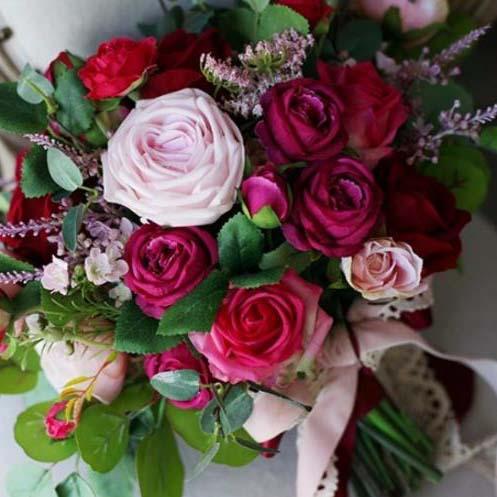 silk bouquet red pink