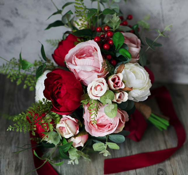 bouquet classic red pink