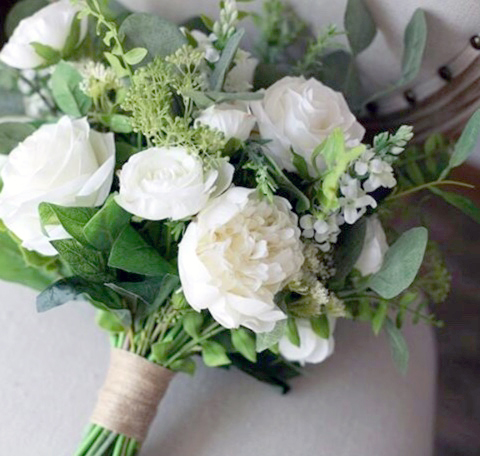 hand flower bouquet white silk