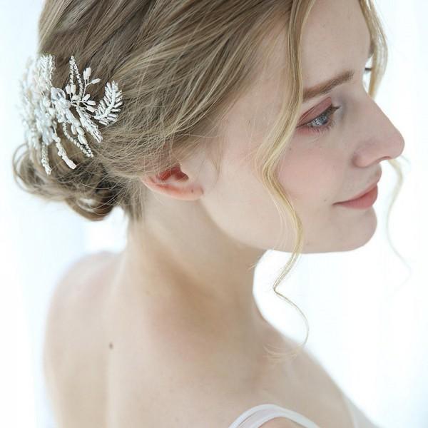 white beaded bridal hair clip