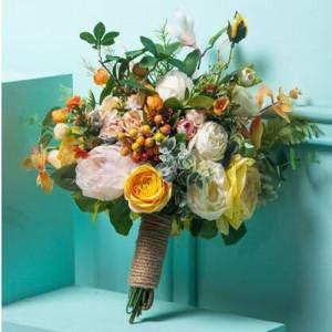 orange bright bouquet weddings