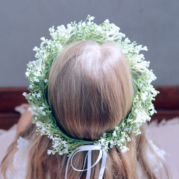 wedding flower girls baby breath halo