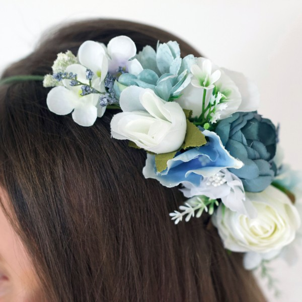 blue wedding bridesmaid hair flowers silk
