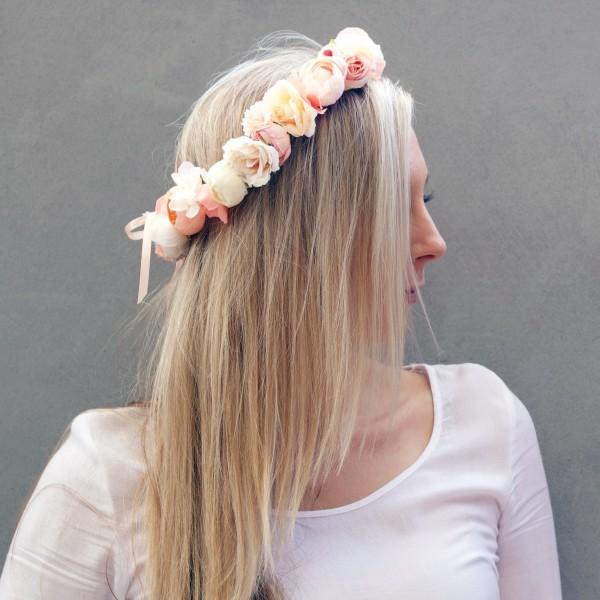peach cream floral head crown headband