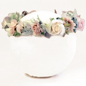 blush peach floral crown fake