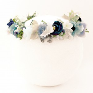 blue baby shower floral crown fake
