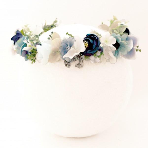 blue baby shower floral crown fake