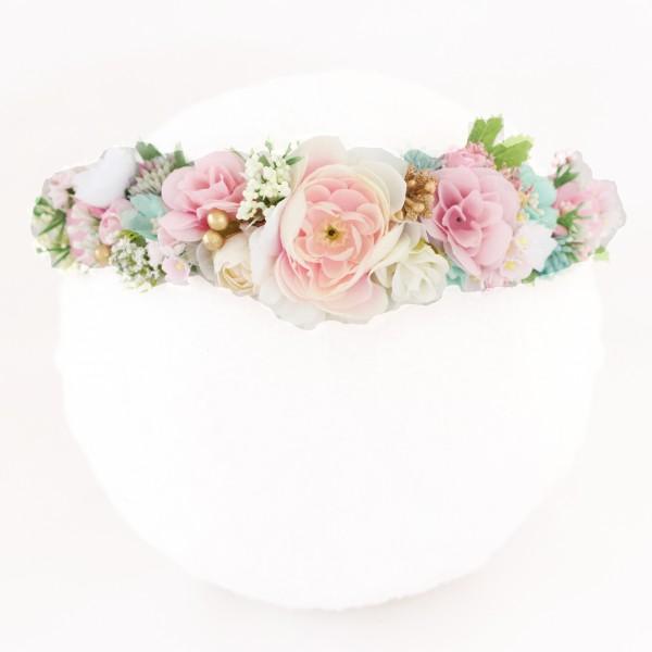 pink pastel flower faux crown