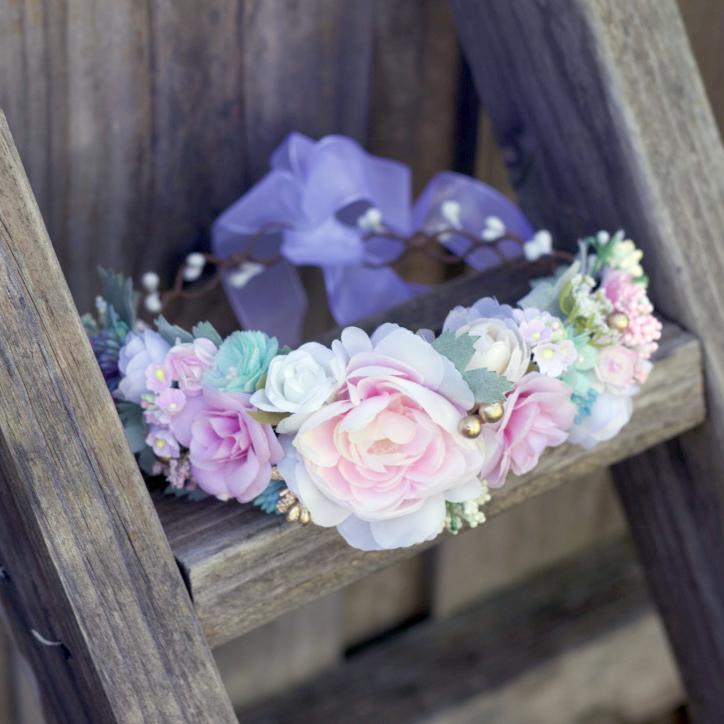 pastel womens flower crown