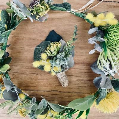 native floral button hole groom wedding Melbourne