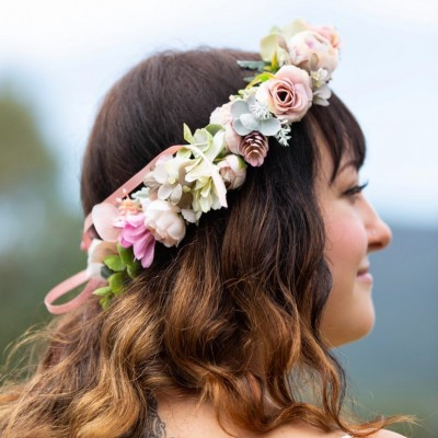 blush sage flower hair crowns