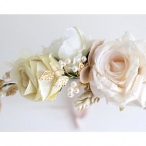 vintage ivory gold flower wreath hair