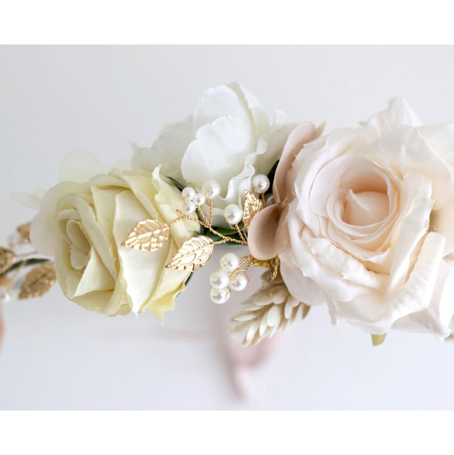vintage ivory gold flower wreath hair