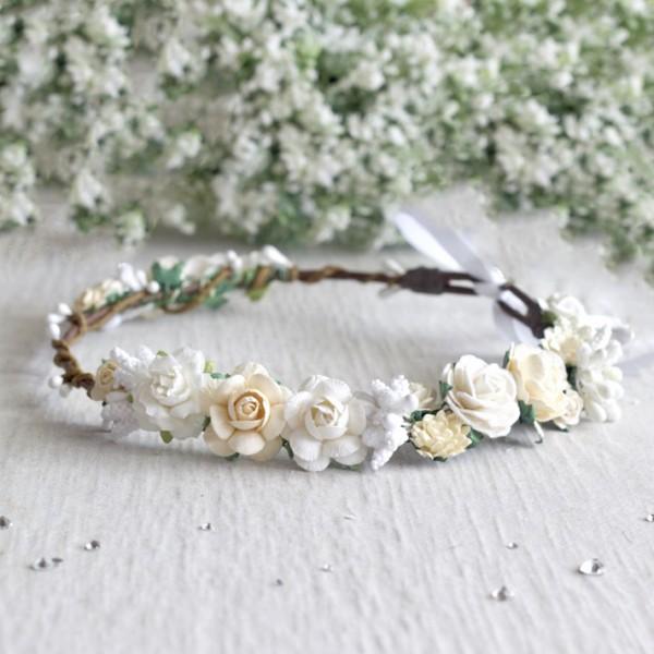 white baptism flower headband