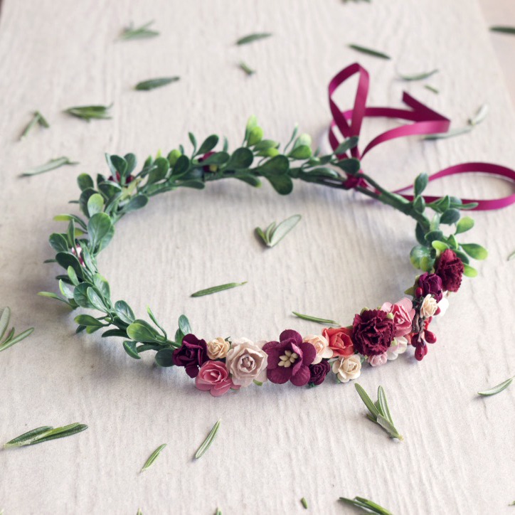 red floral crown