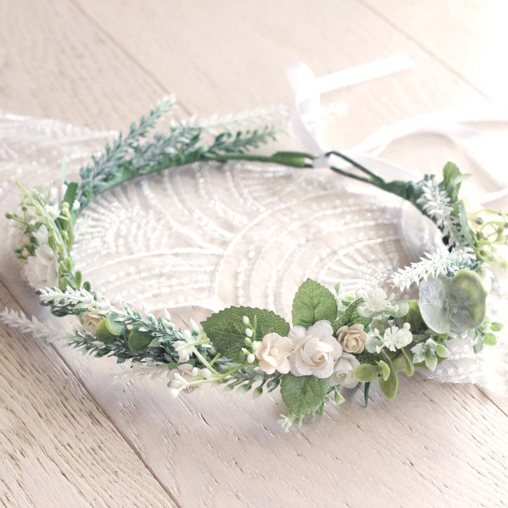 white floral hair crown